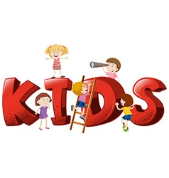 Font design for the word kids vector