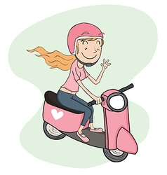 girl riding riding scooter vector image vector image
