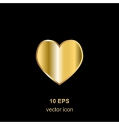 Golden heart on black vector