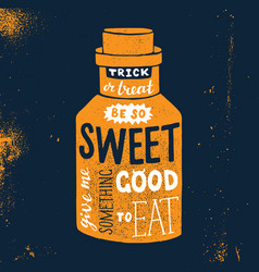 halloween design with bottle and lettering vector image vector image