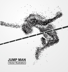 High jump man graphics composed of particles vector