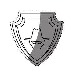Malware spyware head shield crest vector