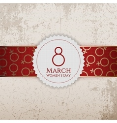 March 8 womens day circle label on ribbon vector