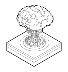 Nuclear explosion icon outline style vector