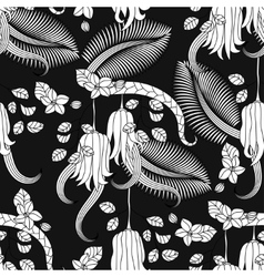 Pattern with tropical plants flowers and citron vector