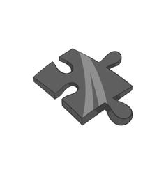 Piece of puzzle icon black monochrome style vector image