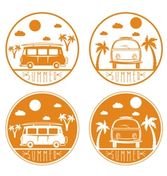 Retro bus with surfboard labels set vector