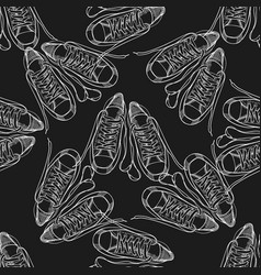seamless pattern with sneakers and shoelaces hand vector image vector image