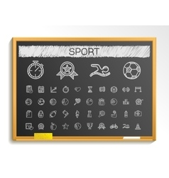 Sport hand drawing line icons chalk sketch sign vector