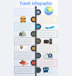 Travel infographic template 9 positions vector