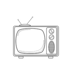 Vintage TV set isolated line vector image