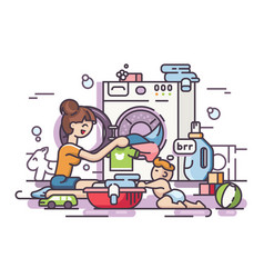 Young mother washing vector