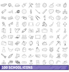 100 school icons set outline style vector