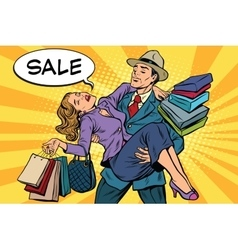 Discounts and sales retro man carrying woman on vector