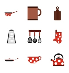 Dining items icons set flat style vector