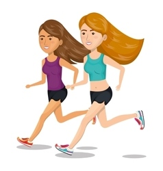 Women running characters icon vector