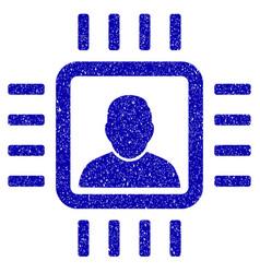 neuro processor icon grunge watermark vector image