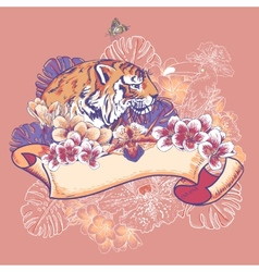 Tropical exotic floral card with toucan and tiger vector