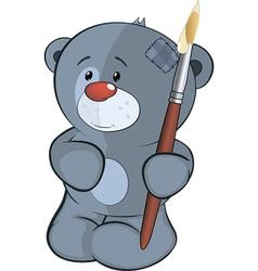 The stuffed toy bear cub the artist cartoon vector image
