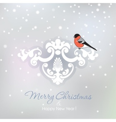 Red bullfinch on a snowy christmas background vector