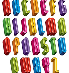 3d font tall thin letters vector