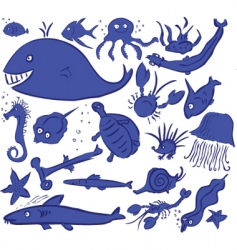 Sea animals vector