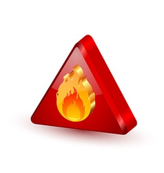 Warning fire icon vector