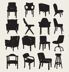 Collection silhouette of chairs vector