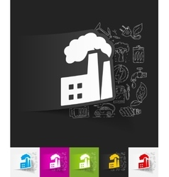 Factory pipes paper sticker with hand drawn vector