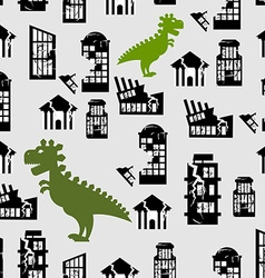 Godzilla destroys city seamless pattern great vector