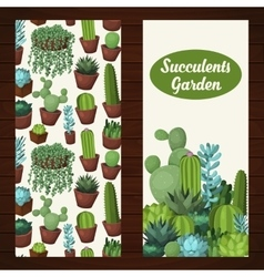 Cute succulent banners vector