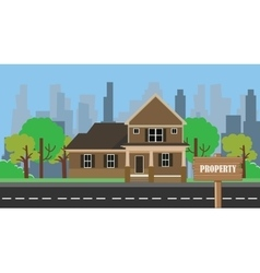 Property building home with wood sign board vector