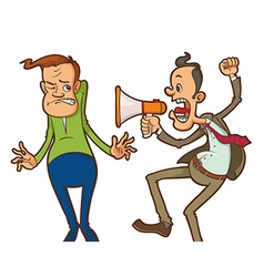 angry boss with megaphone vector image