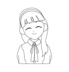 anime girl icon vector image vector image