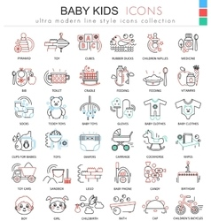 Baby kids ultra modern outline line icons vector image