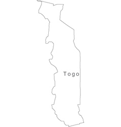 Black White Togo Outline Map vector image