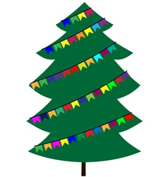 Christmas tree with flags vector image