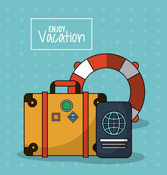 colorful poster of enjoy vacation with luggage and vector image vector image
