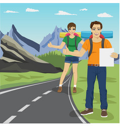 Couple hitchhiking on road in mountains vector