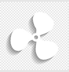 Fan sign white icon with soft shadow on vector