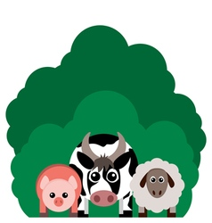 Farm animals cow sheep pig vector