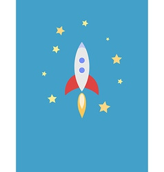 For card with rocket in space vector