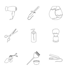 Hairdresser set icons in outline style Big vector image vector image