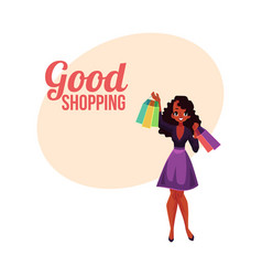 happy shopping poster banner with black girl vector image vector image