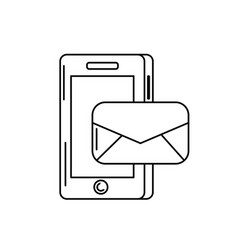 line smartphone technology with e-mail message vector image