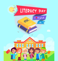 literacy day poster vector image