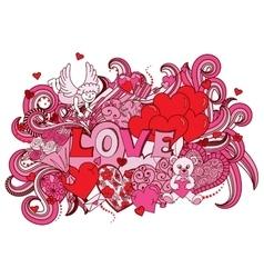 Love doodles background vector image