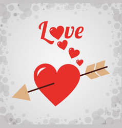 love heart with arrow romantic design vector image