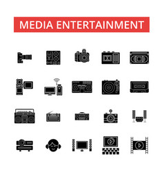 media entertainment thin line icons vector image vector image