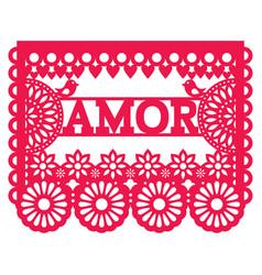 Mexican papel picado design - amor garland vector